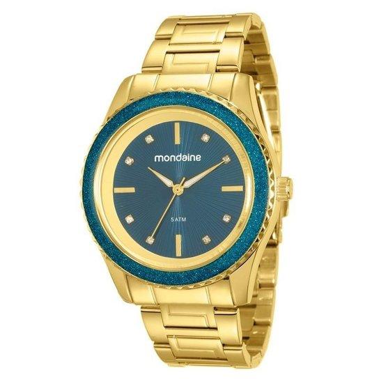 87414009468 Relógio Mondaine Feminino - Dourado e Azul - Compre Agora
