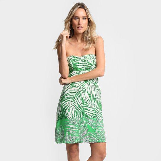 93bacd0c1 Vestido Mercatto Tomara Que Caia Estampado - Verde+Branco