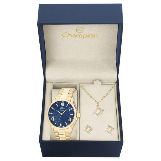f8f61948492 Relógio Champion Analógico CN27796K Feminino - Dourado e Azul ...