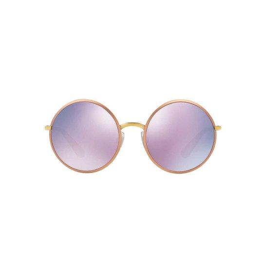 871901653 Óculos de Sol Dolce & Gabbana Redondo DG2155 Feminino - Dourado+Azul