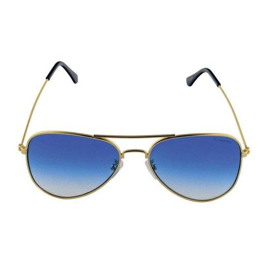 Óculos de Sol Khatto Aviador Station Masculino - Dourado e Azul ... c32c5dc06a