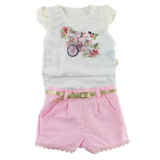 5c0cf151faa8e Conjunto Curto Paraíso Moda Bebê com Blusinha Saia - Compre Agora ...