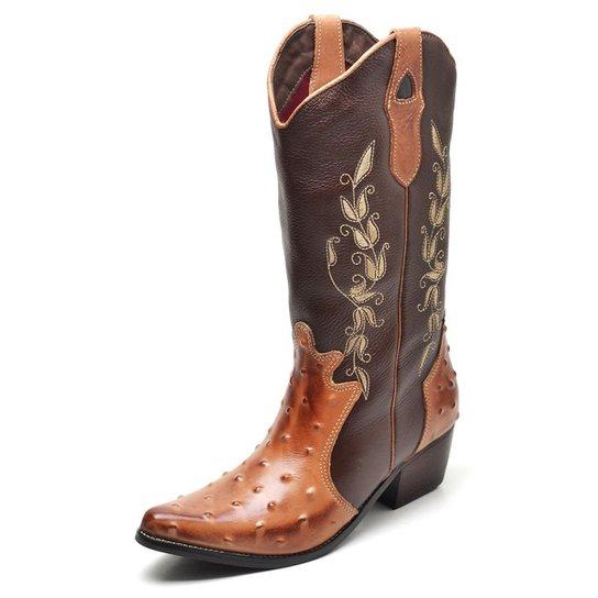 Bota Country Bico Fino Top Franca Shoes Feminina - Dourado e Marrom ... ffcd2adbf78