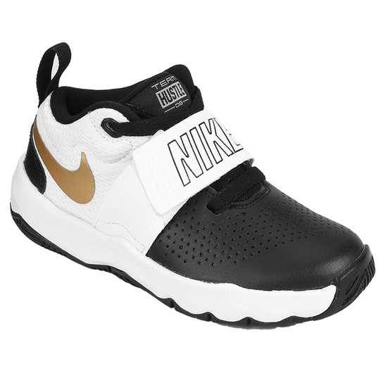 86bb4031224 Tênis Infantil Nike Team Hustle D 8 Masculino - Off White e Preto ...