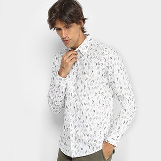 5b20d0cd52d Camisa Colcci Manga Longa Estampa Folhagem Slim Masculina