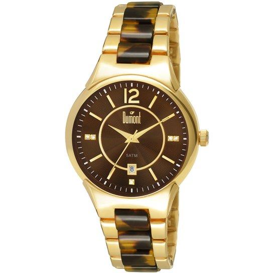 9b2c700d2db Relógio Dumont Analógico Pedras - Dourado+Marrom