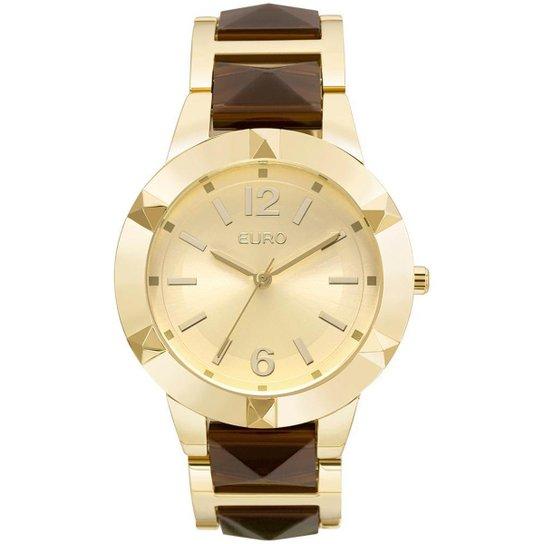 b1d9add56bd58 Relógio Feminino Euro EU2035YLZ 4D 41mm Pulseira Aço Bicolor Dourado Marrom  - Dourado+