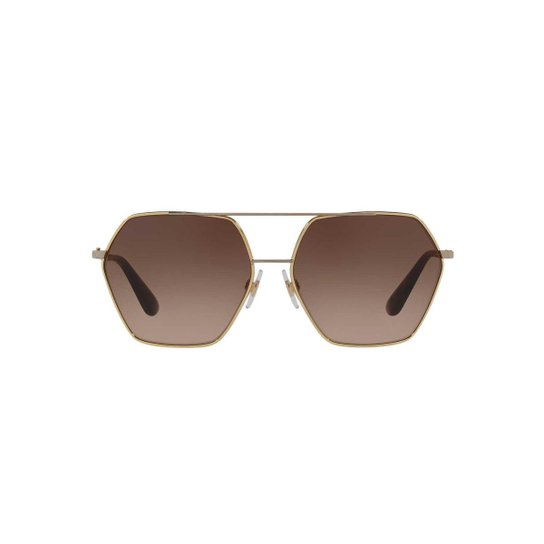 afd478ecb Óculos de Sol Dolce & Gabbana Irregular DG2157 Feminino - Dourado+Marrom