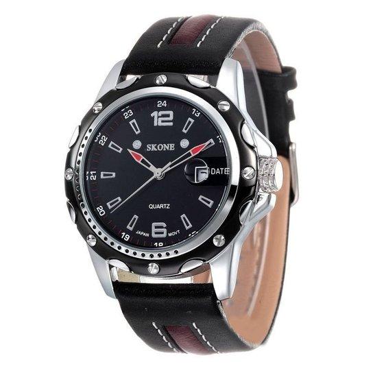 e9049425de9 Relógio Skone Analógico 9117B - Preto e Marrom - Compre Agora