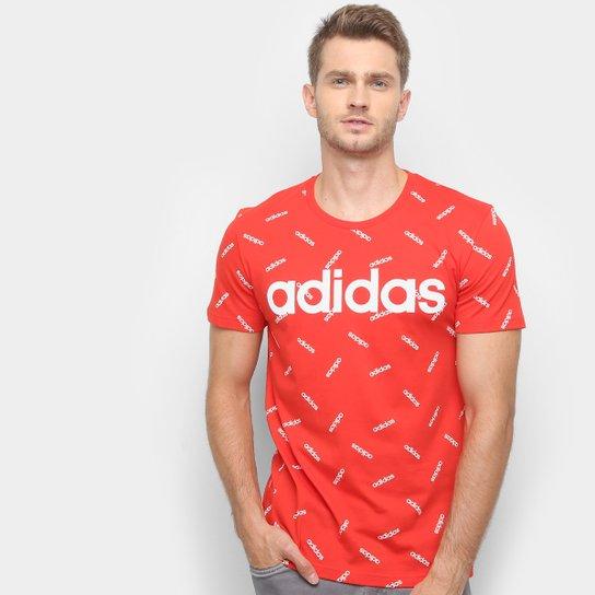 1c4128b5e22 Camiseta Adidas AOP Masculina - Vermelho e Branco - Compre Agora ...