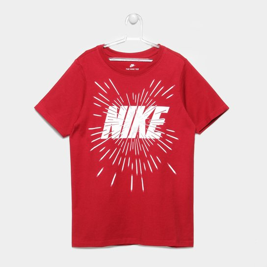 56fe8ef5e5 Camiseta Infantil Nike B Nsw Space Block Masculina - Vermelho+Branco