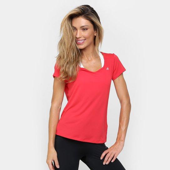 Camiseta Adidas ESS Clima LW Feminina - Vermelho+Branco 5be5dcaf99d07