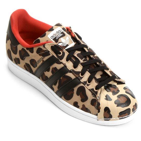 52d9a235126 Tênis Adidas Superstar Toe Pack - Marrom Claro+Preto