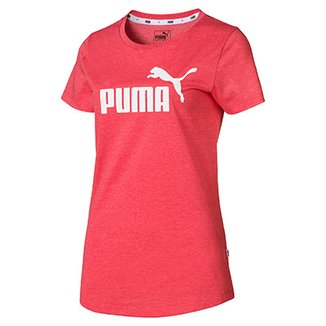 440843960 Camiseta Puma Ess+ Logo Heather Feminina