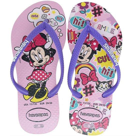 274a66ef54 Chinelo Infantil Havaianas Slim Disney Minnie Feminino - Roxo e ...