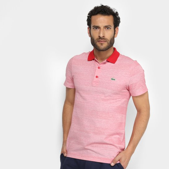 c1025893c67 Camisa Polo Lacoste Básica Masculina - Vermelho+Branco