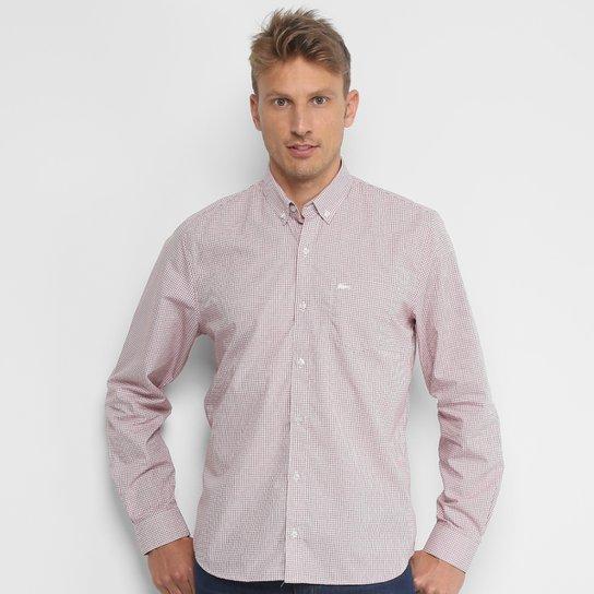 36f116dcb52 Camisa Xadrez Lacoste Manga Longa Masculina - Vermelho e Branco ...