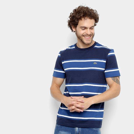 Camiseta Lacoste Listrada Masculina - Marinho e Azul - Compre Agora ... 15b0f41930