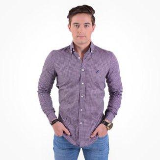 2a0ca4f5e0 Camisa Social Masculina Slim Xadrez Fucsia 100220