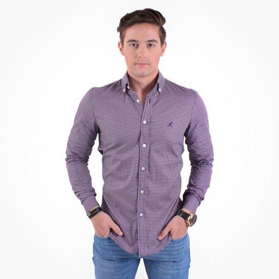 1435096948 Camisa Social Masculina Slim Xadrez - Roxo e Lilás