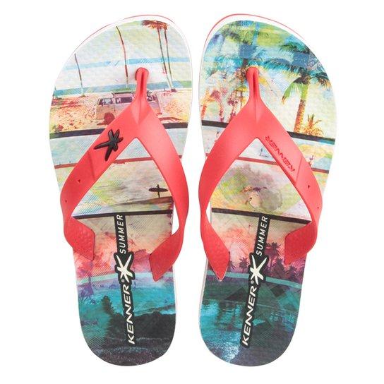 9c702b4f74fac Chinelo Kenner Summer Praia Masculino - Vermelho+Branco