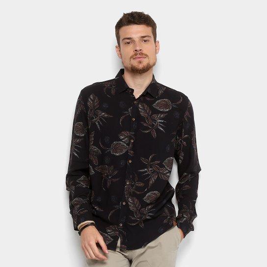0a5bb5b8b Camisa Colcci Estampada Masculina - Preto+Marrom