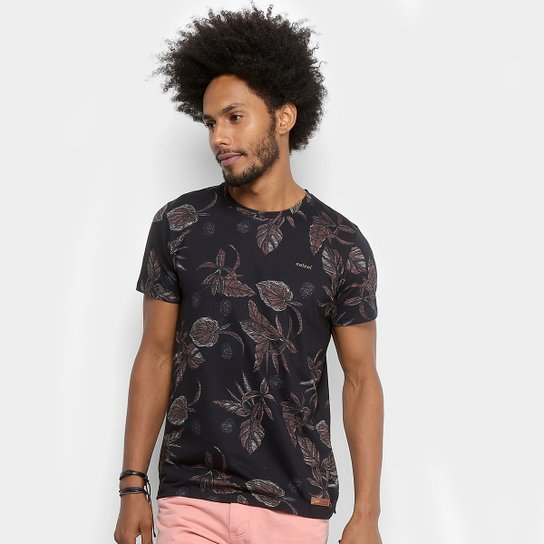 6b0f31a34 Camiseta Colcci Floral Masculina - Preto+Marrom