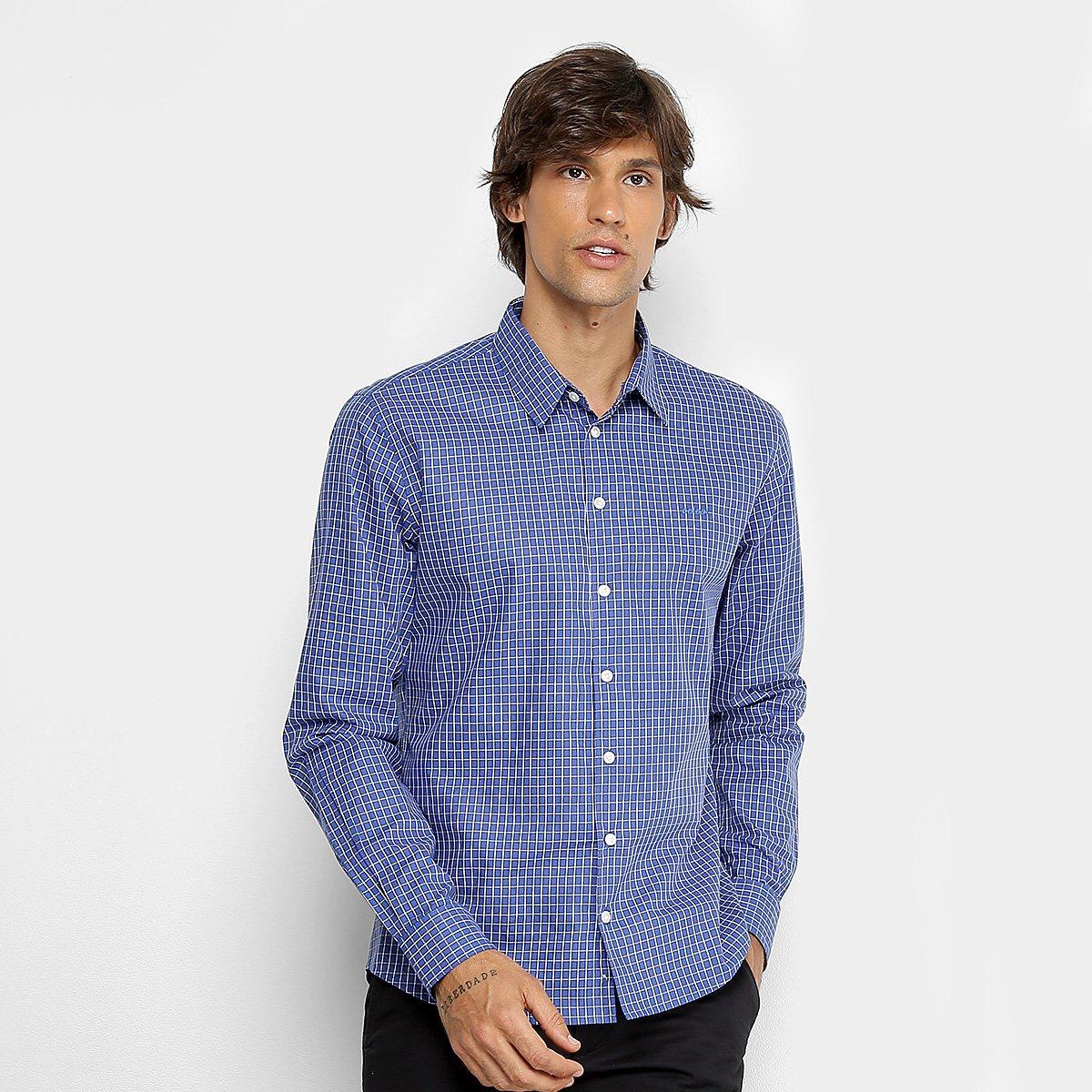 d16f74b10 Camisa Slim Xadrez Colcci Manga Longa Masculina