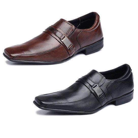117c40692 Kit 2 Pares Sapatos Sociais Couro Store Fivela Masculino - Preto+Marrom