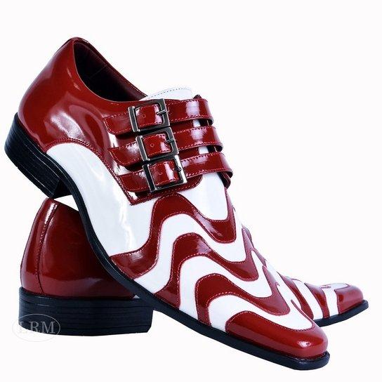 d7b4f6ab0 Sapato Social Gofer Copacabana Em Couro Legítimo Masculino - Vermelho+Branco