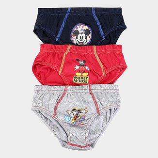 2989ec344 Kit de 3 Cuecas Slip Infantil Lupo Mickey Masculino