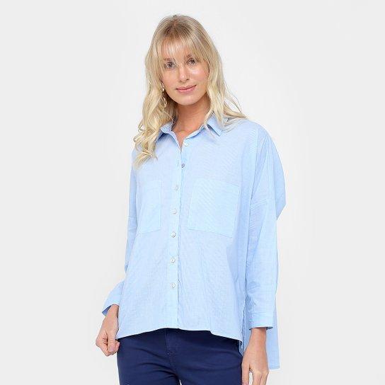 Camisa Forum Listrada Ampla Botões Feminina - Azul+Off White 446d81e3302c2