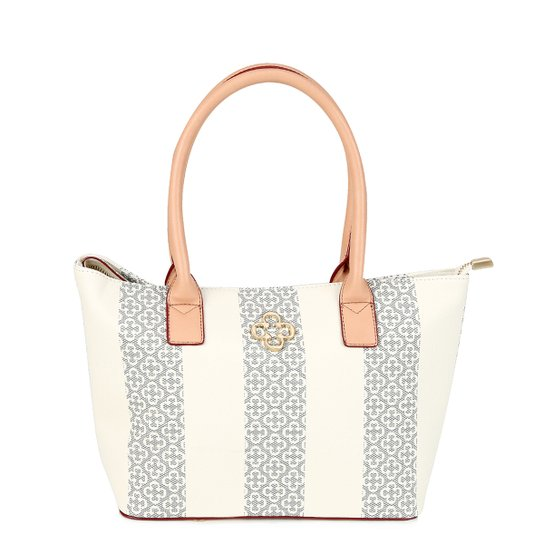 6d8496c46 Bolsa Capodarte Shopper Monograma Feminina - Azul+Off White