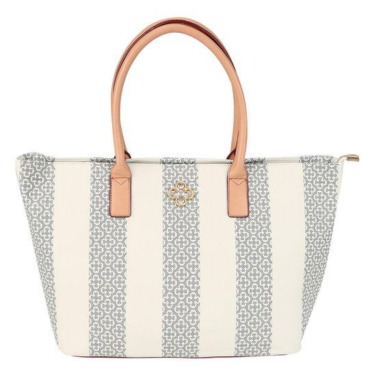 53fa6ce01 Bolsa Capodarte Shopper Monograma Listras Feminina - Azul+Off White