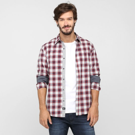 9b7c6b020316d Camisa Ellus 2nd Floor Slim Xadrez - Vermelho e Cinza
