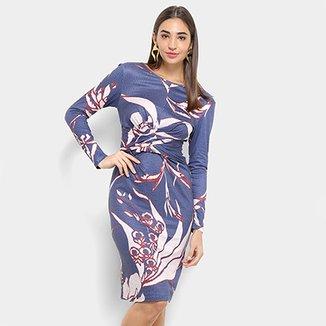 53db39020 Vestido Morena Rosa Midi Decote Redondo