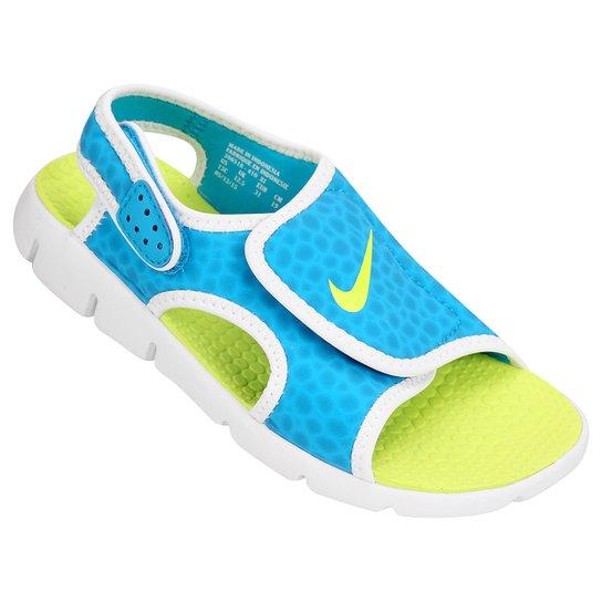 44256187e84d5 Sandália Nike Sunray Adjust 4 Juvenil - Azul Piscina e Verde Limão ...