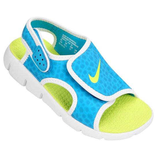 e78635e6e74 Sandália Infantil Nike Sunray Adjust 4 - Azul Piscina e Verde Limão ...
