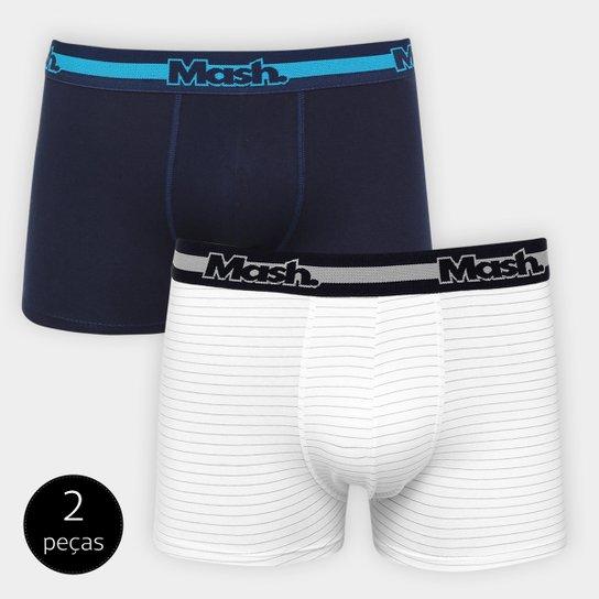 3e2cfb8e4 Kit Cueca Boxer Mash c  02 Peças - Azul e Branco