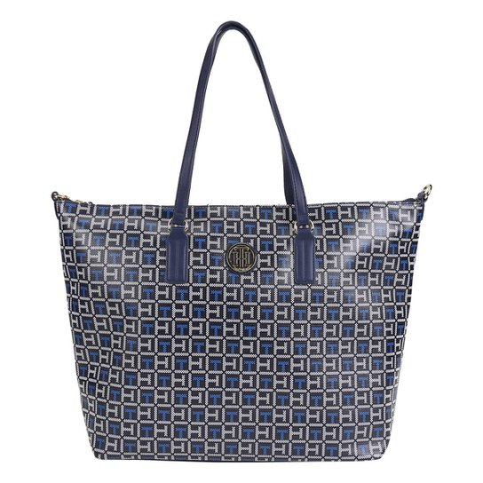 3f558d154 Bolsa Tommy Hilfiger Shopper Ivy Logo Feminina - Azul+Branco