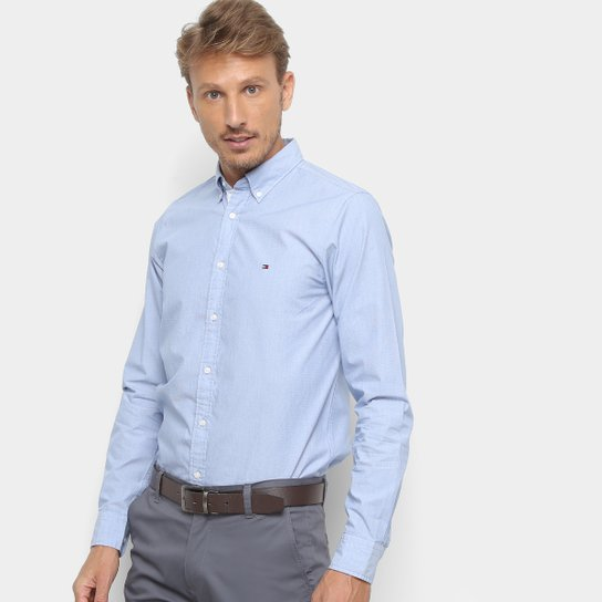 681dbd5ca996 Camisa Manga Longa Tommy Hilfiger Slim Grid Dobby Masculina - Azul e Branco
