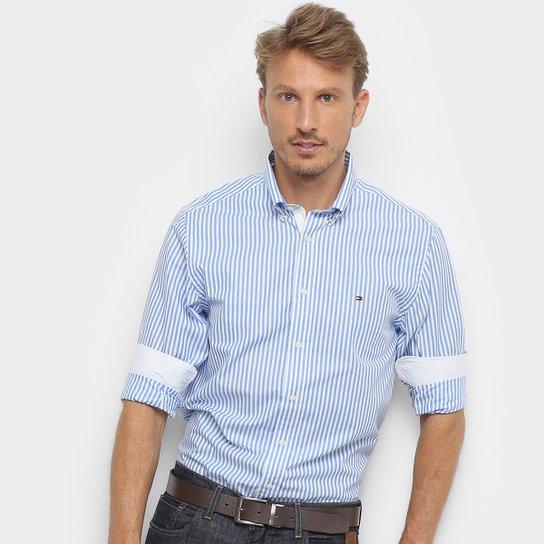 79ec1dd8e837 Camisa Manga Longa Tommy Hilfiger Masculina - Azul e Branco