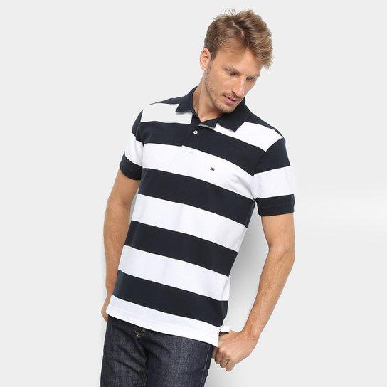 fa085c2b1f Camisa Polo Tommy Hilfiger Estampa Listrada Block Stripe Regular Masculina  - Azul+Branco