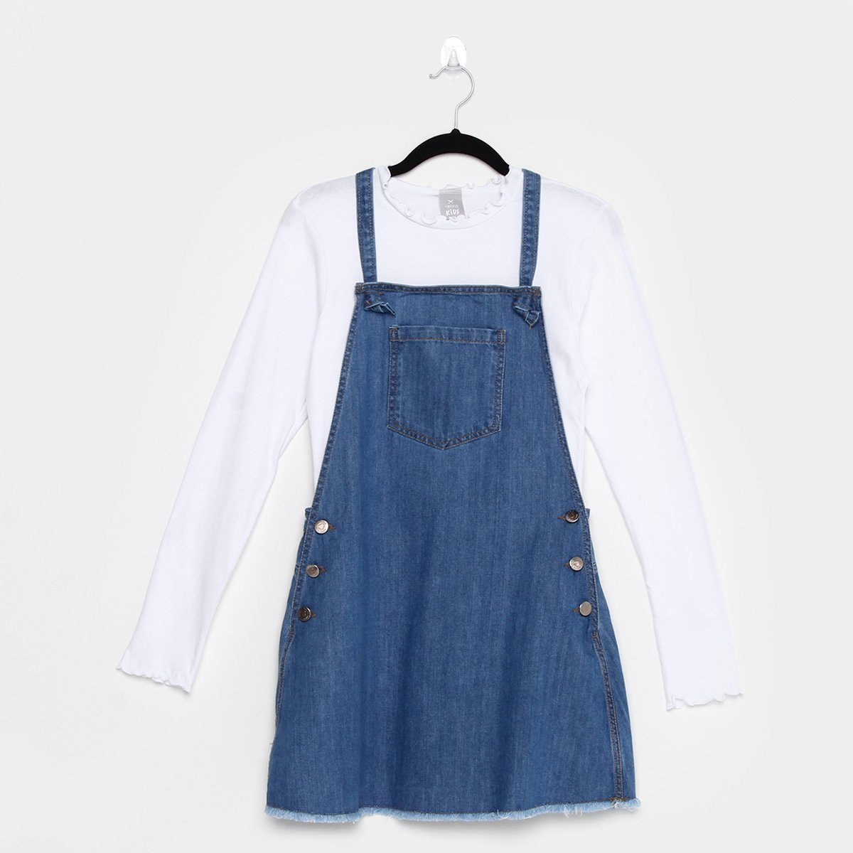 Conjunto Infantil Hering Salopete Jeans Feminino