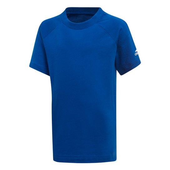9ba7a8c6c1e84 Camiseta Infantil Adidas Infantil Manga Curta - Azul e Branco ...