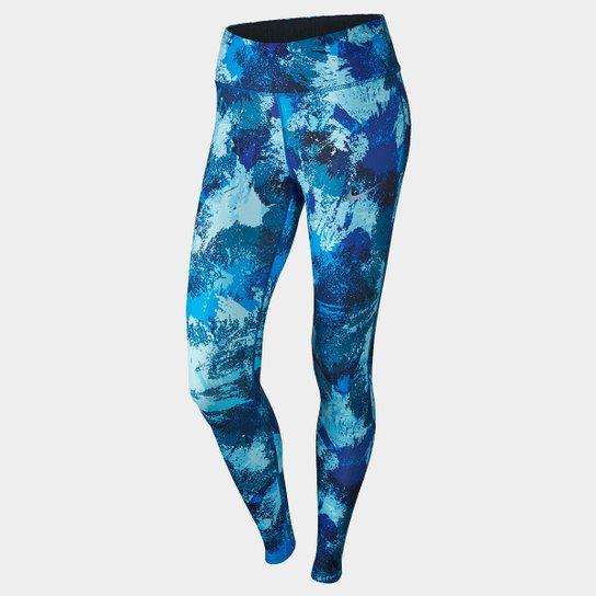 Calça Legging Nike Power Essential Running Tight Feminina - Azul+Branco 5d270fc6e79b5