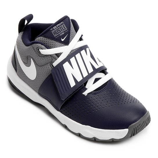 Tênis Infantil Nike Team Hustle D8 Masculino - Cinza e Azul - Compre ... e7c466e74592c