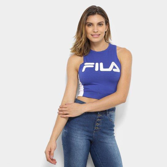 Regata Cropped Fila Alison New Feminina - Azul e Branco - Compre ... cde655812d6