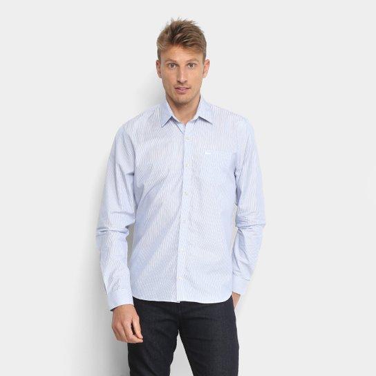 46edeacf258 Camisa Lacoste Manga Longa Masculina - Azul e Branco - Compre Agora ...