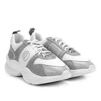 03d96f2b9 Tênis Couro Dumond Chunky Sneaker Detalhes Mini Snake Feminino